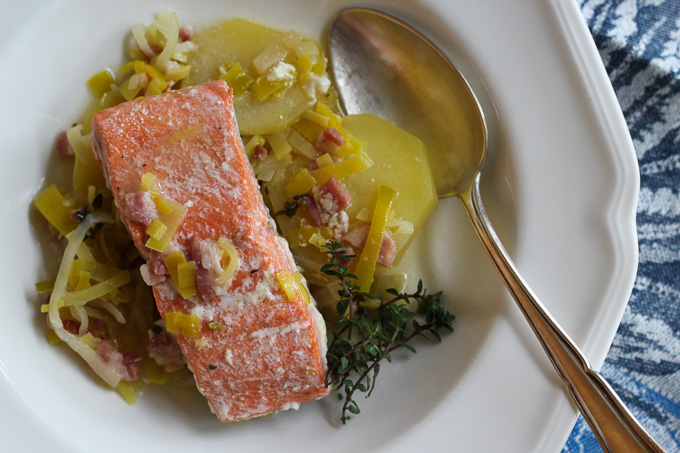 Salmon with Leeks, Potatoes, and Bacon