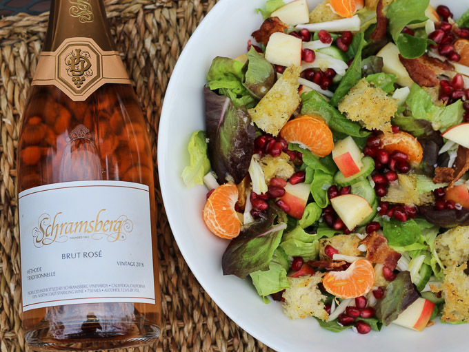 Winter Salad with Pomegranates paired with Brut Rosé