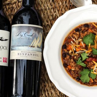Sweet Potato Quinoa Chili paired with California Zinfandel
