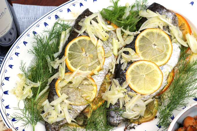 Roasted Rainbow Trout with Citrus and Fennel Slaw