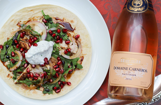 Ras el Hanout Chicken Wraps with Pomegranate Seeds