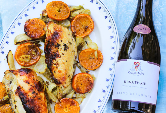 Roasted Chicken with Fennel and Clementines Paired with Hermitage Marsanne