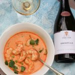 Shrimp in Curry Coconut Broth Paired with Marsanne