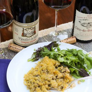 Chicken Wild Rice Hot dish paired with Cru Beaujolais