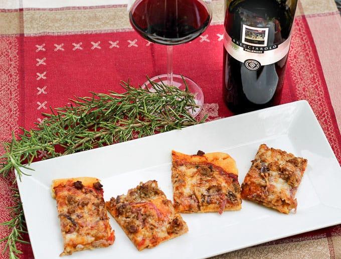 Pizza with Brecciarolo Rosso Piceno