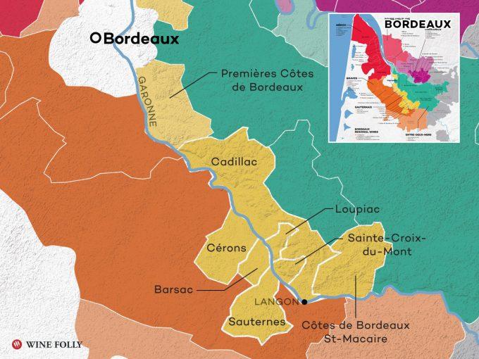 Map of Bordeaux's Sweet Wine Region