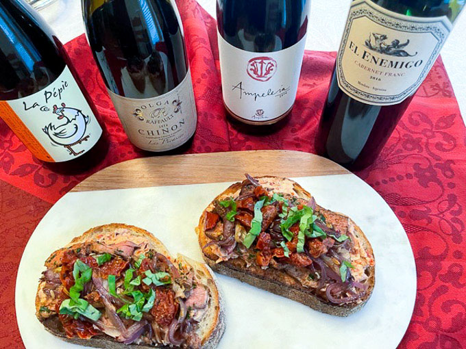 Cabernet Franc Paired with Bison Steak Tartines