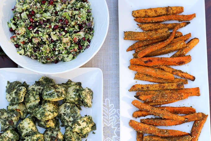 Winter Tabbouleh, Sweet Potato Fries, and Green Herb Chicken