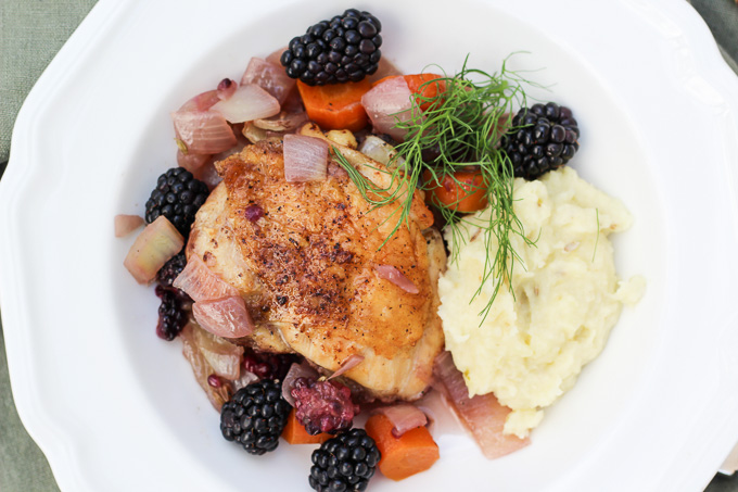 Braised Chicken Thighs, Blackberries, and Fennel Purée