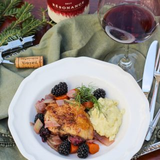 Oregon Pinot Noir Paired wiht Braised Chicken Thighs, Blackberries, and Fennel Purée