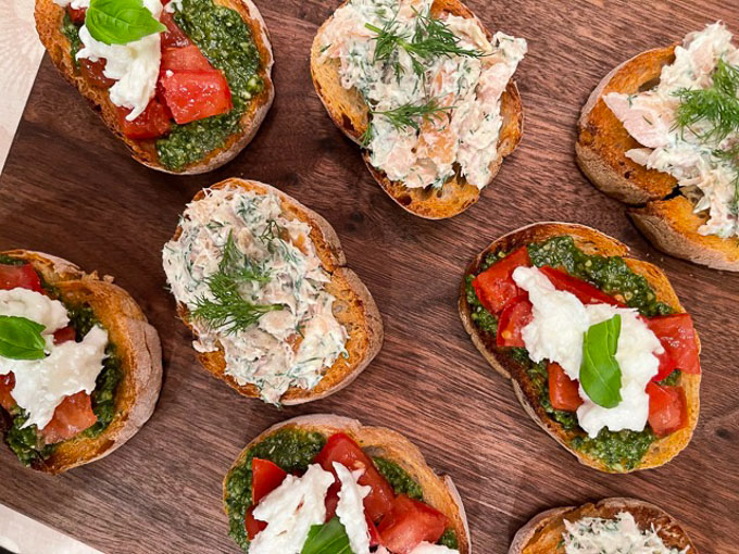 Smoked Trout Crostini and Tomato, Pesto, and Mozzarella Crostini