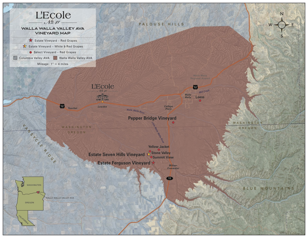 L'Ecole Vineyard Map