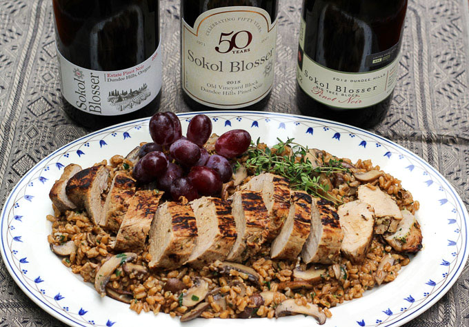 Herb and Mustard Marinated Pork Tenderloin with Mushroom Herb Farro Paired with Sokol Blosser Pinot Noir