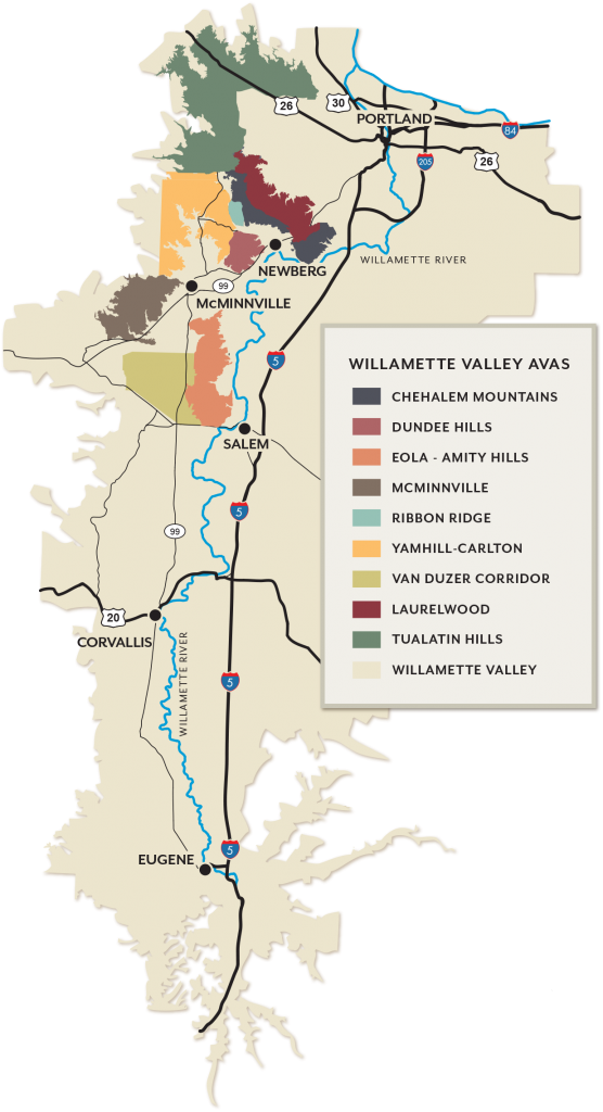 Map of Willamette Valley AVAs
