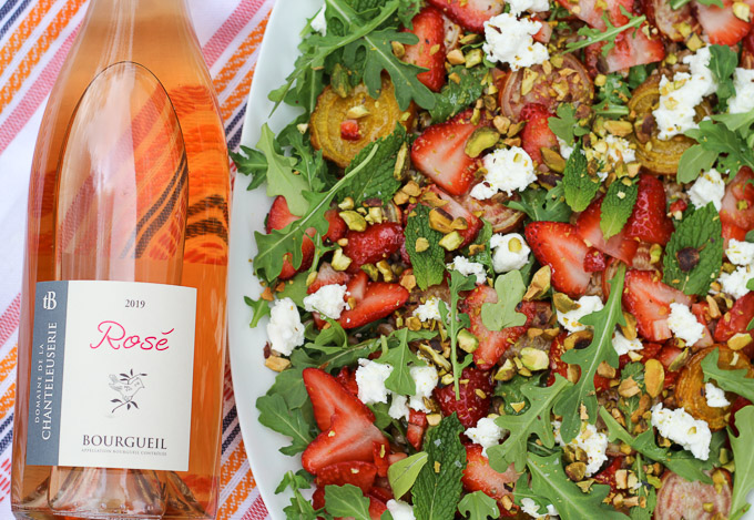 Strawberry, Roasted Beet, Arugula, farro, and Goat Cheese Salad Paired with Bourgueil Cabernet Franc
