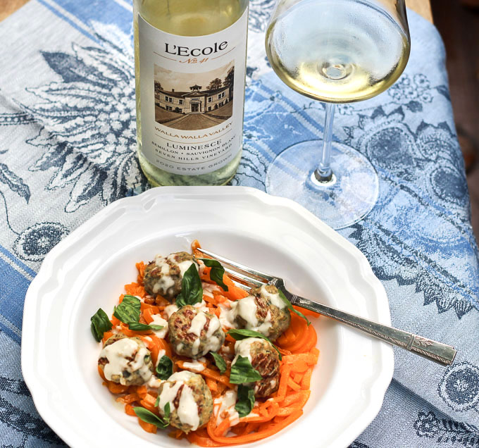 Mini Turkey-Herbed Meatballs and Butternut Squash Noodles Paired with L'Ecole Luminesce