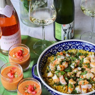 Tomato-Watermelon Gazpacho and Sweet Corn Buttered Shrimp Paired with Alsace Wines