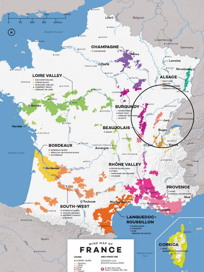 France Wine Map with Circle Around Jura