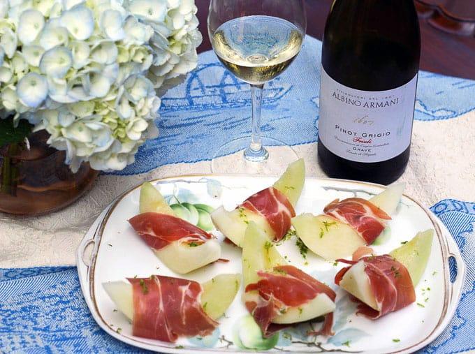 Prosciutto and Melon paired with Albino Armani Pinot Grigio